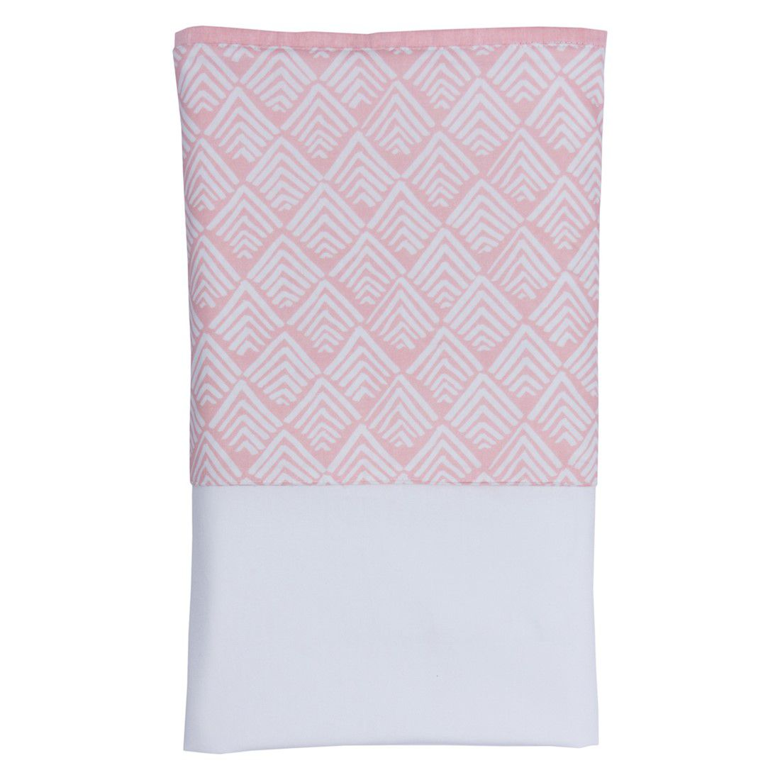 Lençol branco com vira oca rosa chá