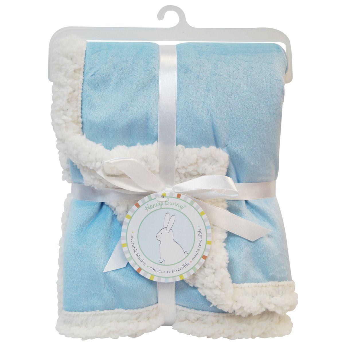 Manta de Microfibra Honey Bunny Dupla Face Azul para bebê