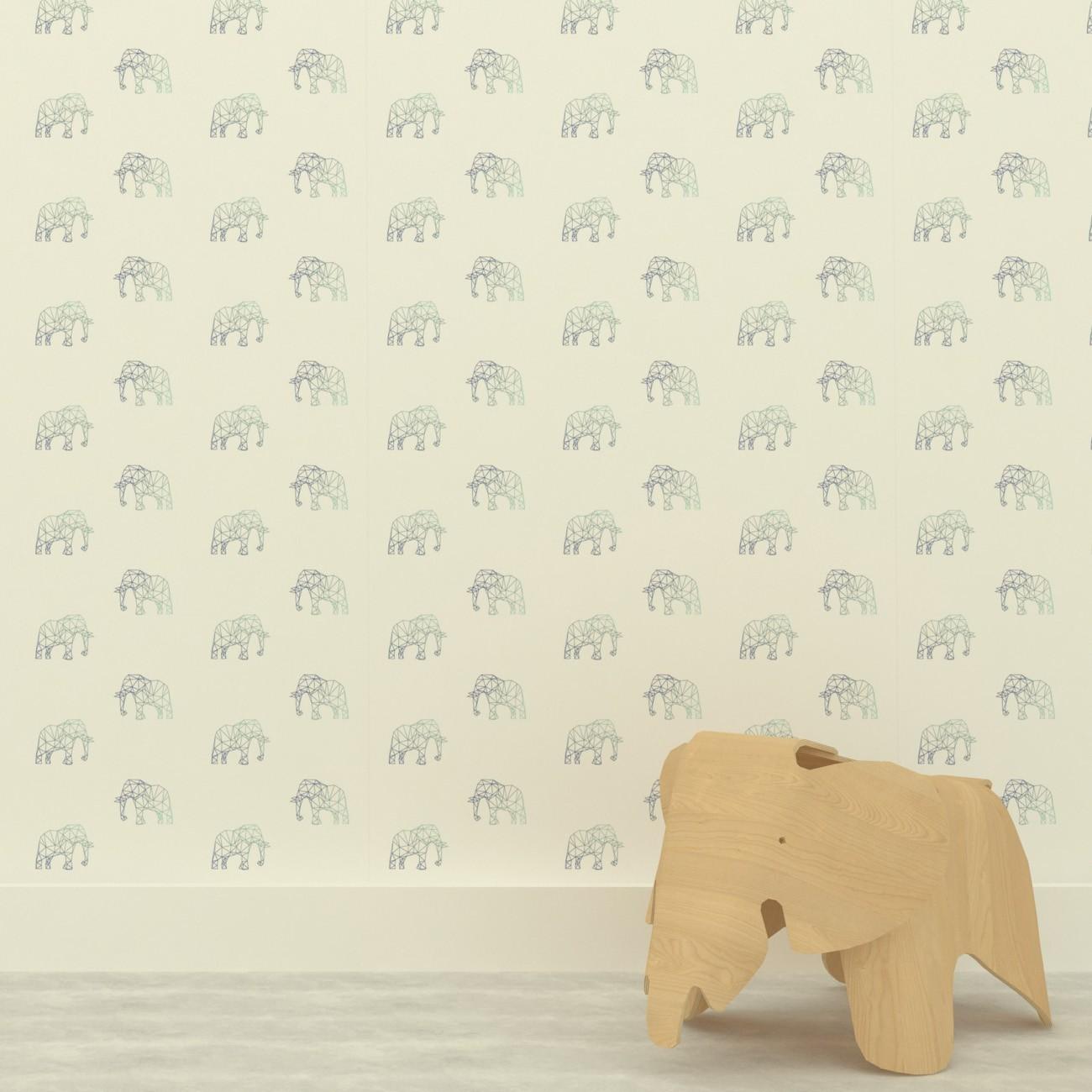 Papel de parede Elefantes Fundo Cinza