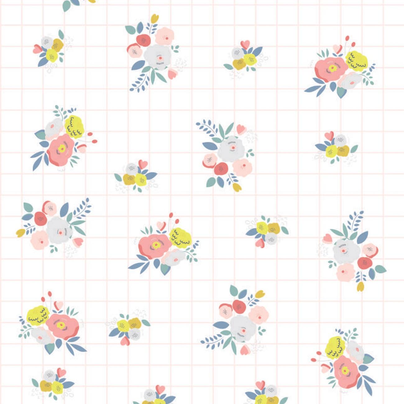 Papel de parede Floral Grid Fundo Branco