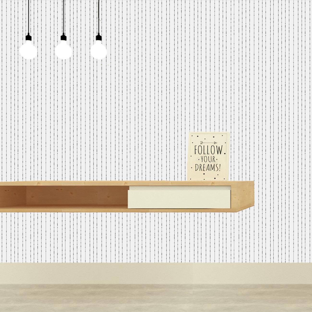 Papel de parede Linhas e Pontos Preto