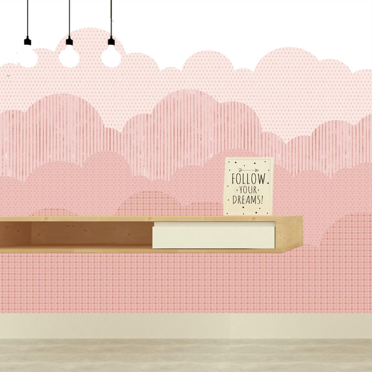 Papel de parede Nuvens Fundo Rosa