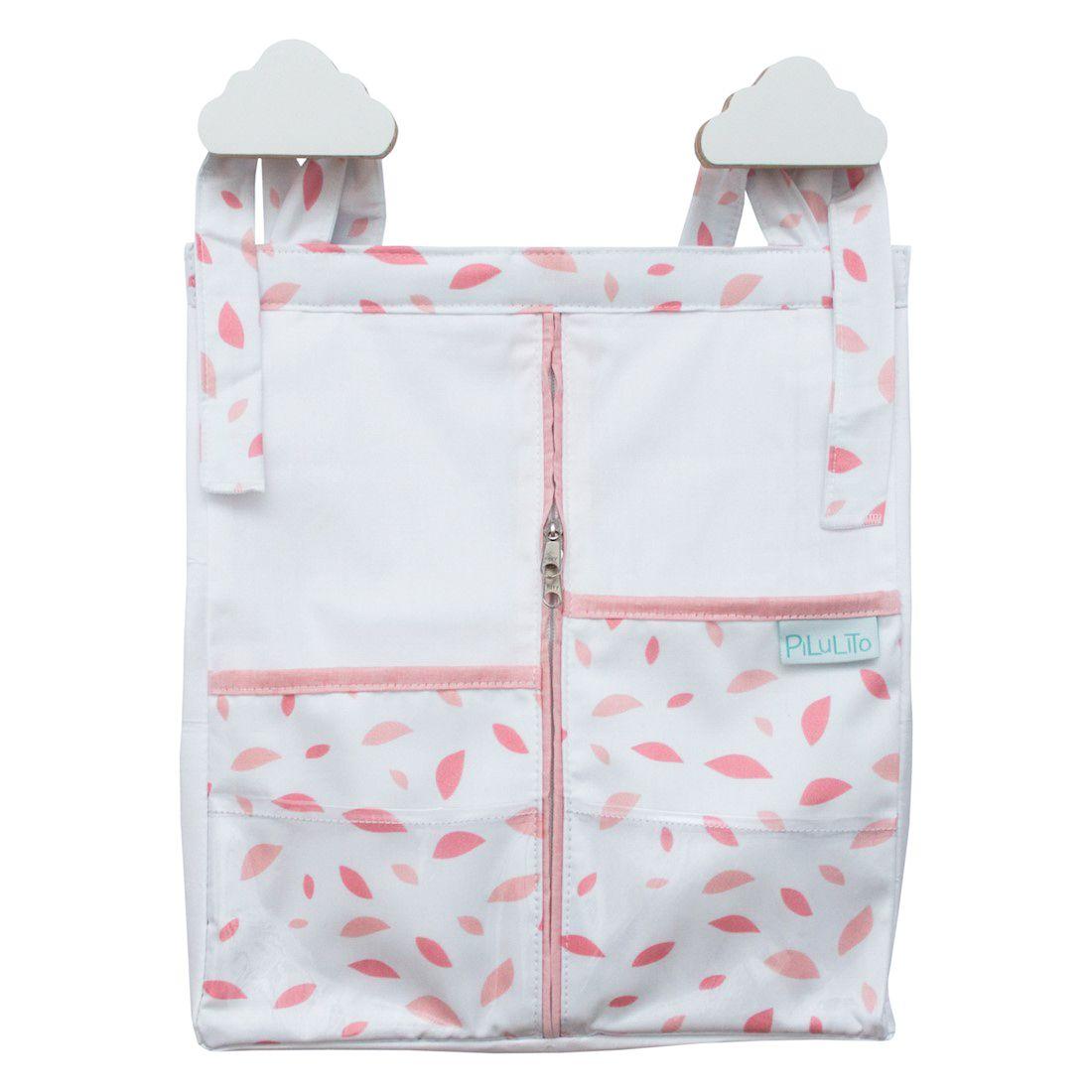Porta-fraldas Chão De Folhas Rosa Chá