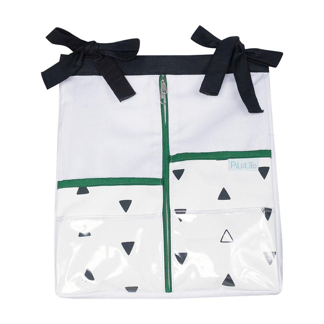 Porta-fraldas triângulos PB com verde malaquita
