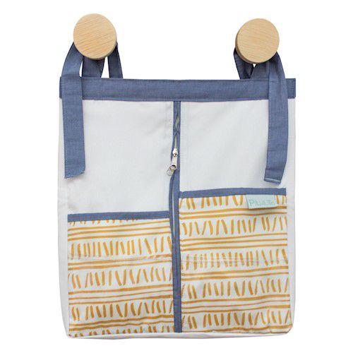 Porta-fraldas trilha amarelo ocre e azul jeans