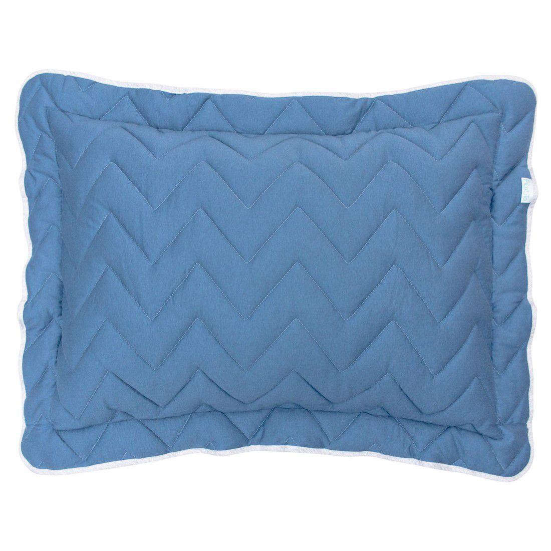 Porta travesseiro em malha chevron 70x50cm azul cobalto