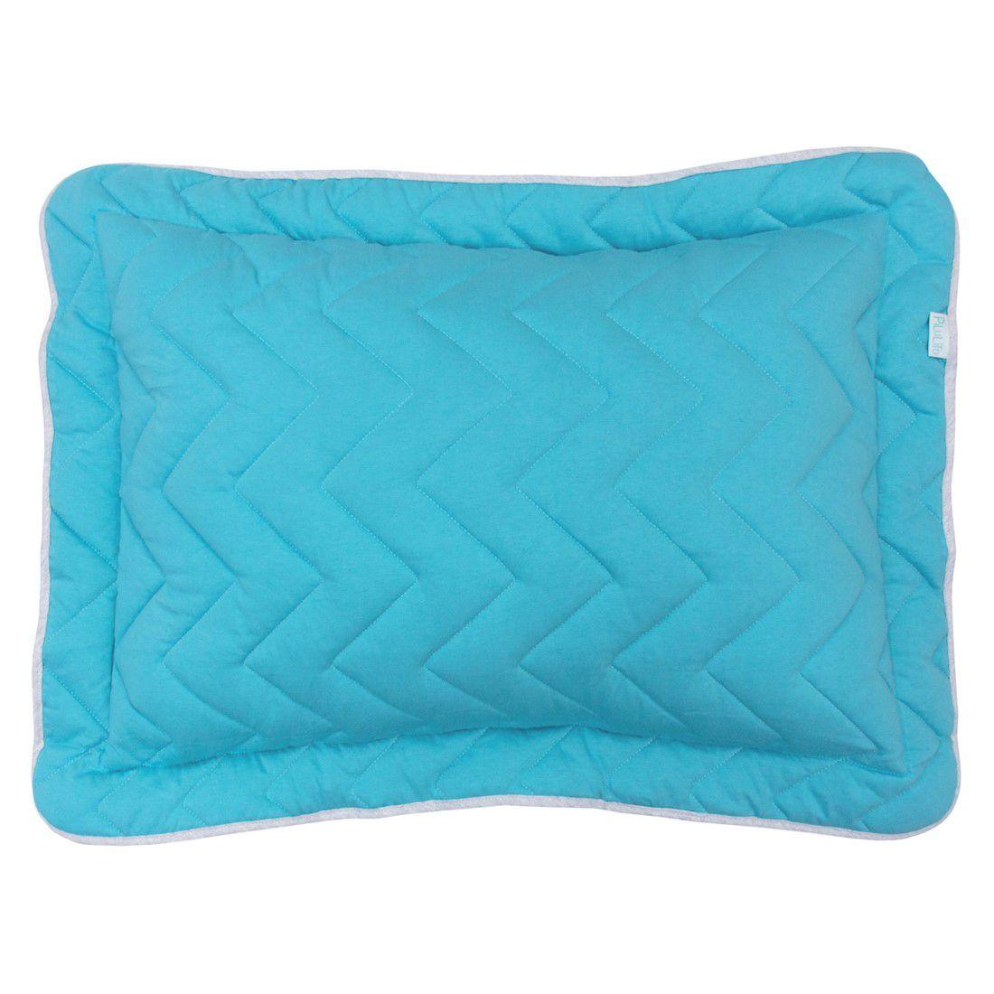 Porta travesseiro em malha chevron 70x50cm azul turquesa