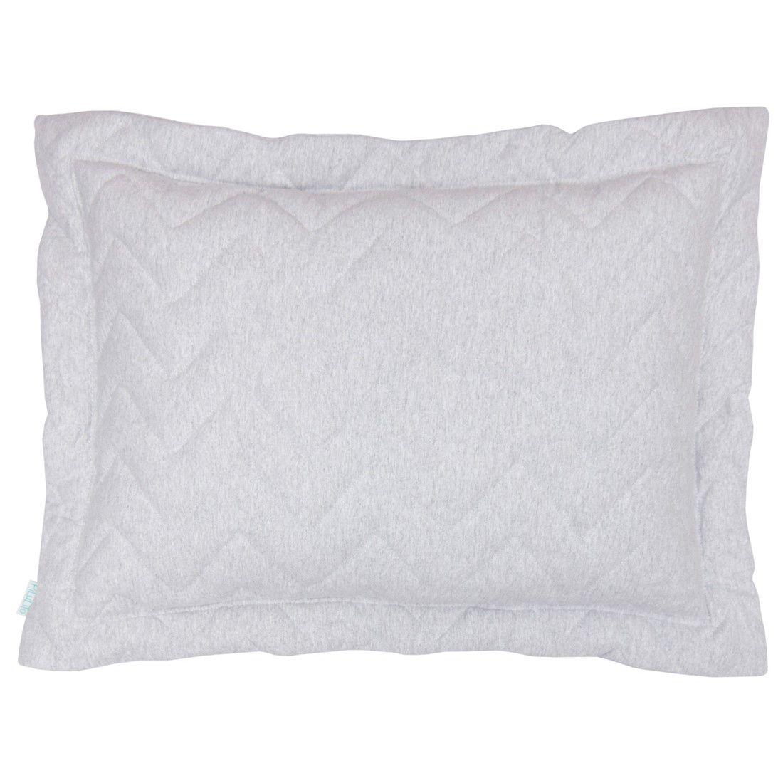 Porta travesseiro em malha chevron 70x50cm cinza mescla