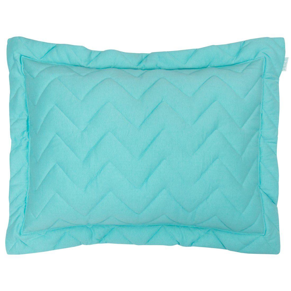 Porta travesseiro em malha chevron 70x50cm oceano