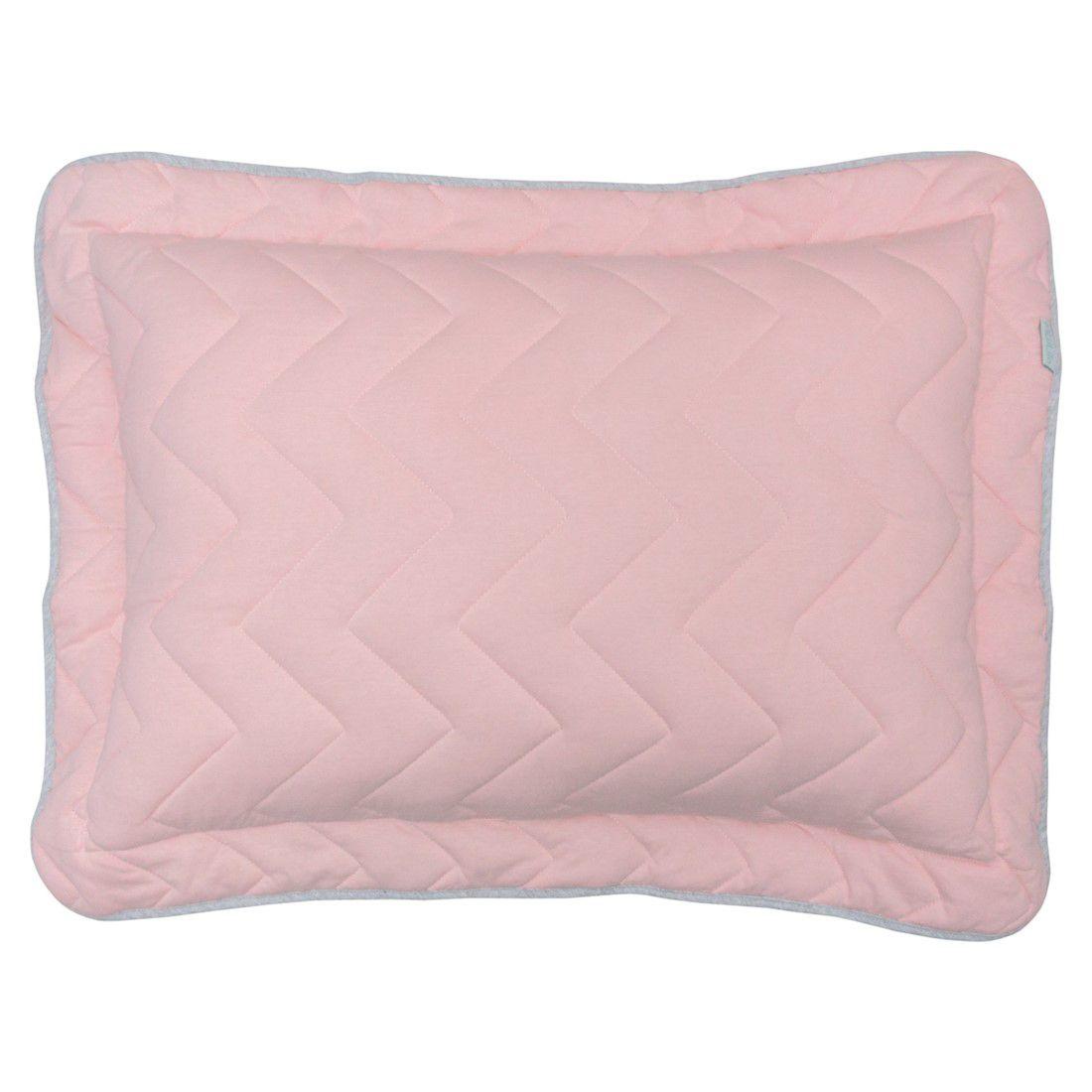 Porta travesseiro em malha chevron 70x50cm rosa chá