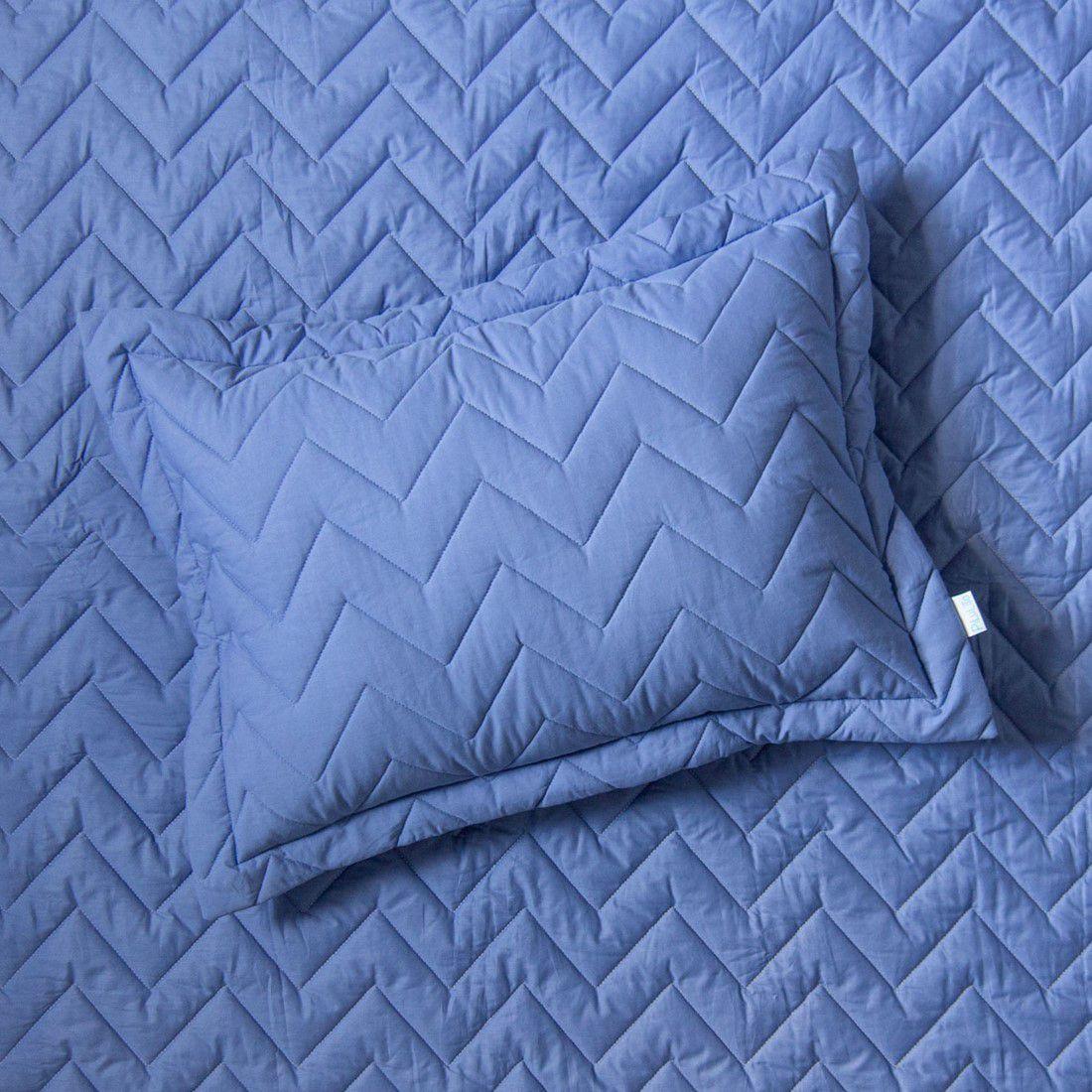 Porta Travesseiro Percal 200 Fios Chevron Azul Real