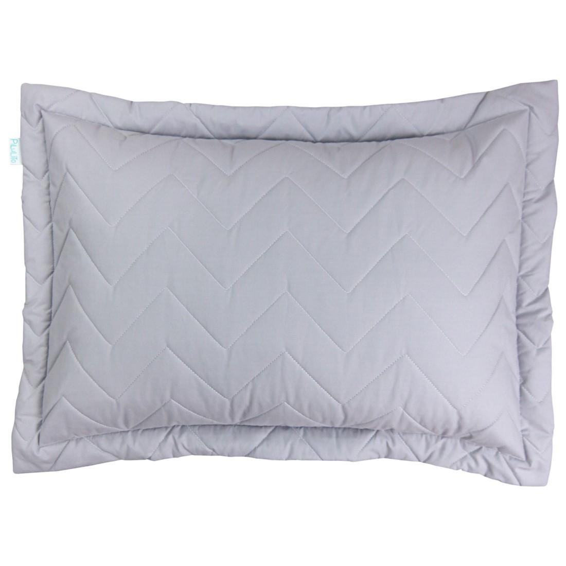 Porta Travesseiro Percal 200 Fios Chevron Cinza