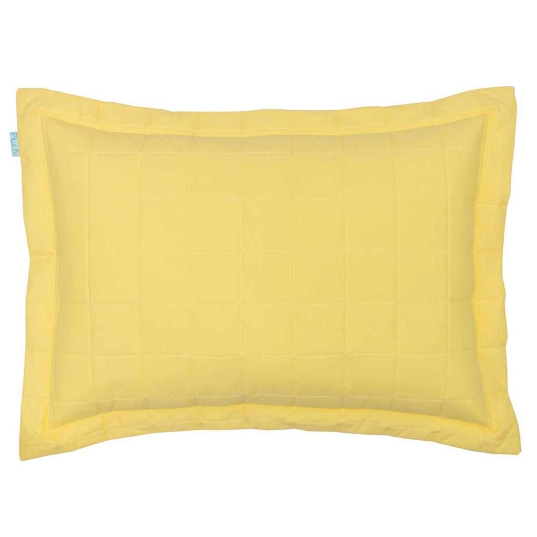 Porta travesseiro percal 200 fios cubos amarelo claro