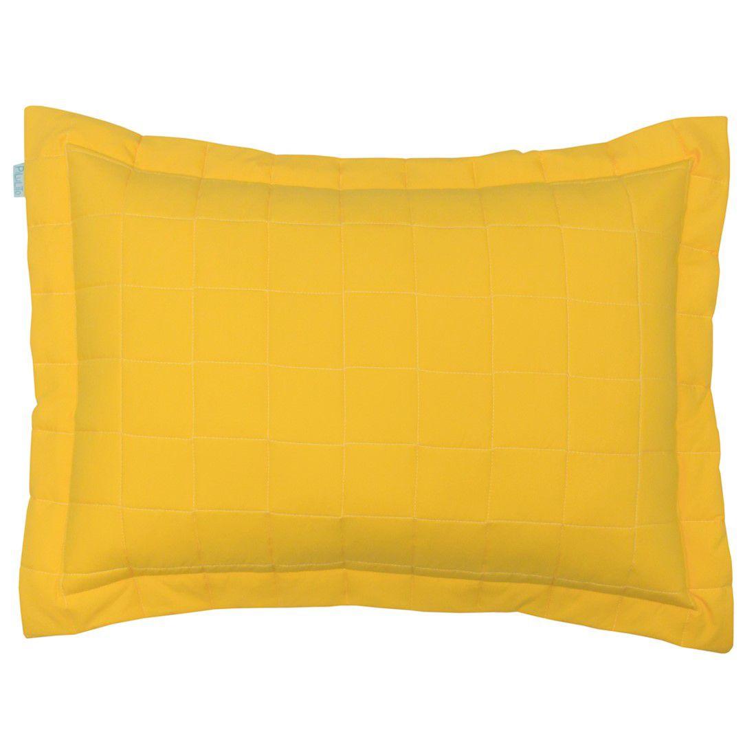 Porta travesseiro percal 200 fios cubos amarelo ouro