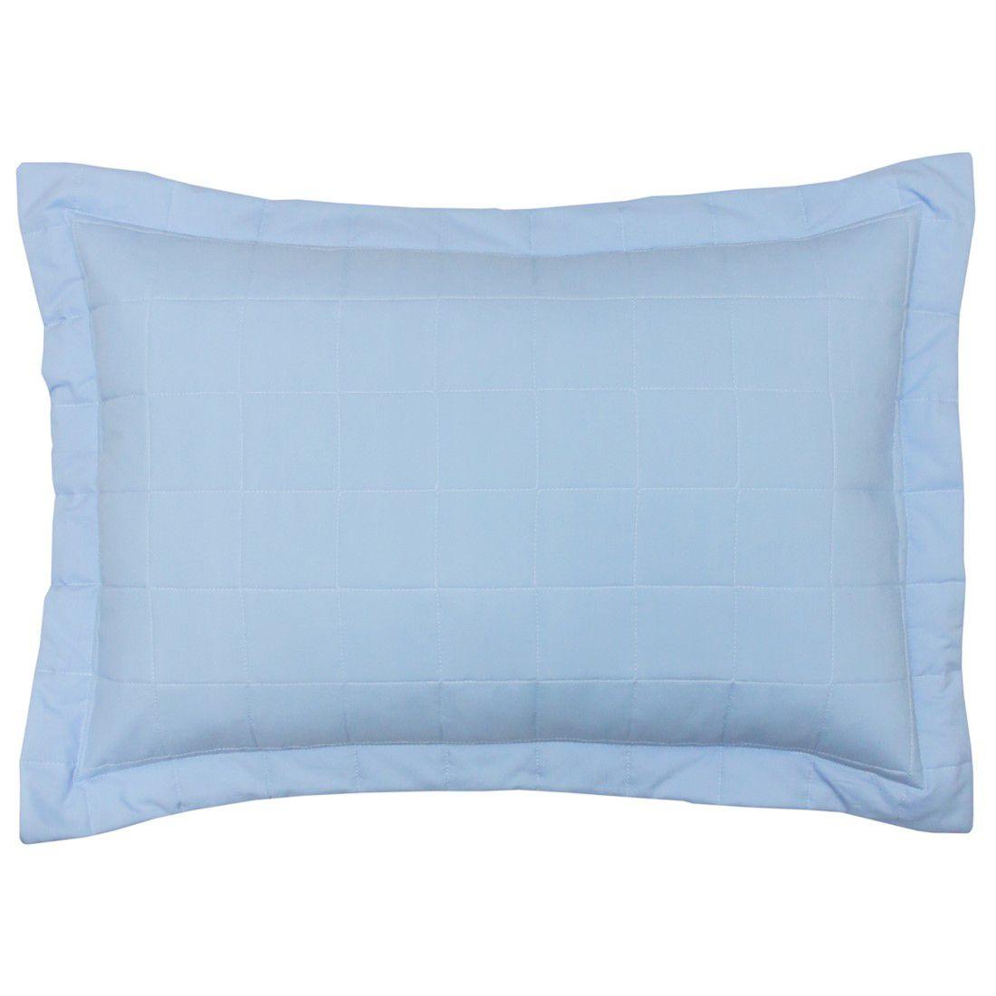 Porta travesseiro percal 200 fios cubos azul claro