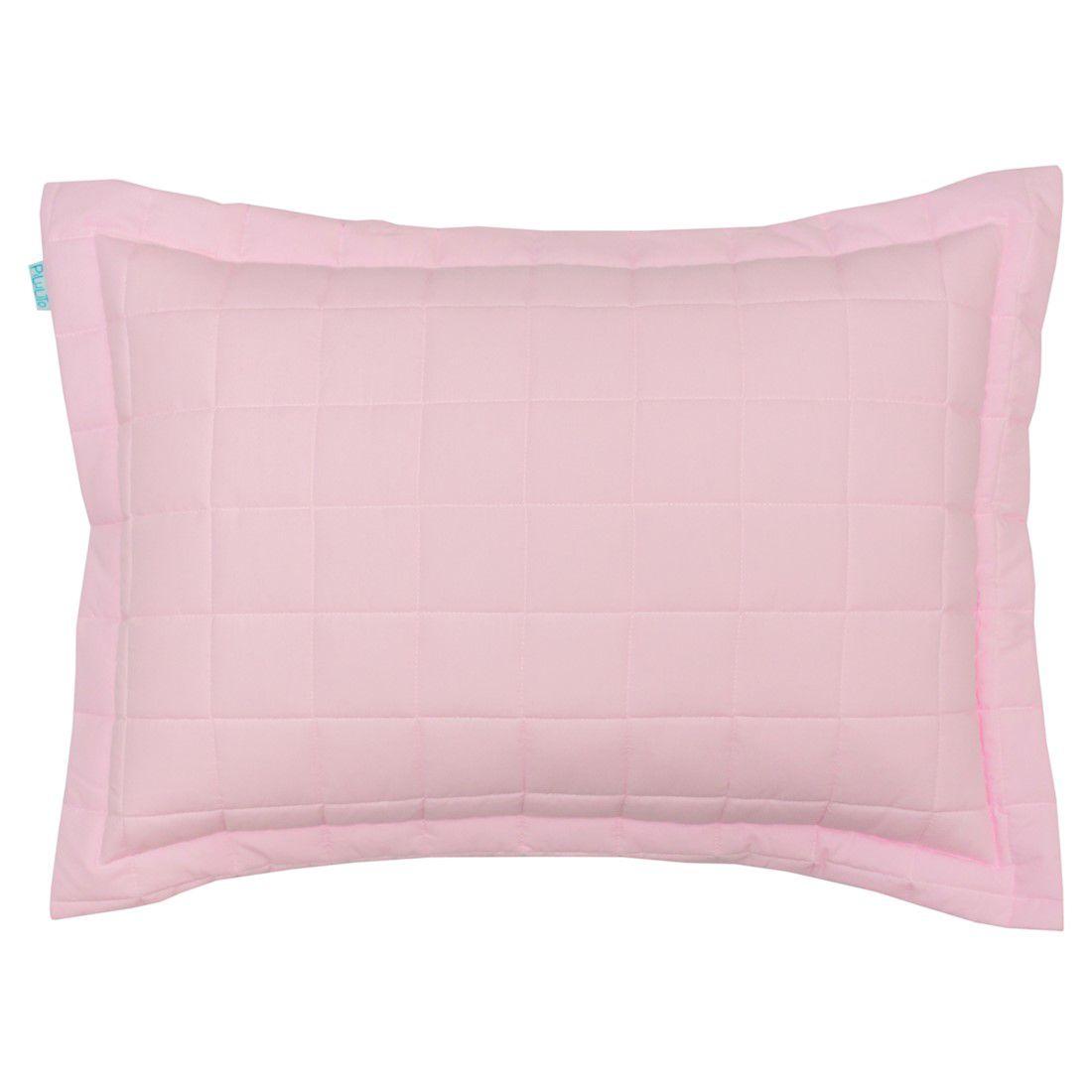 Porta travesseiro percal 200 fios cubos rosa claro