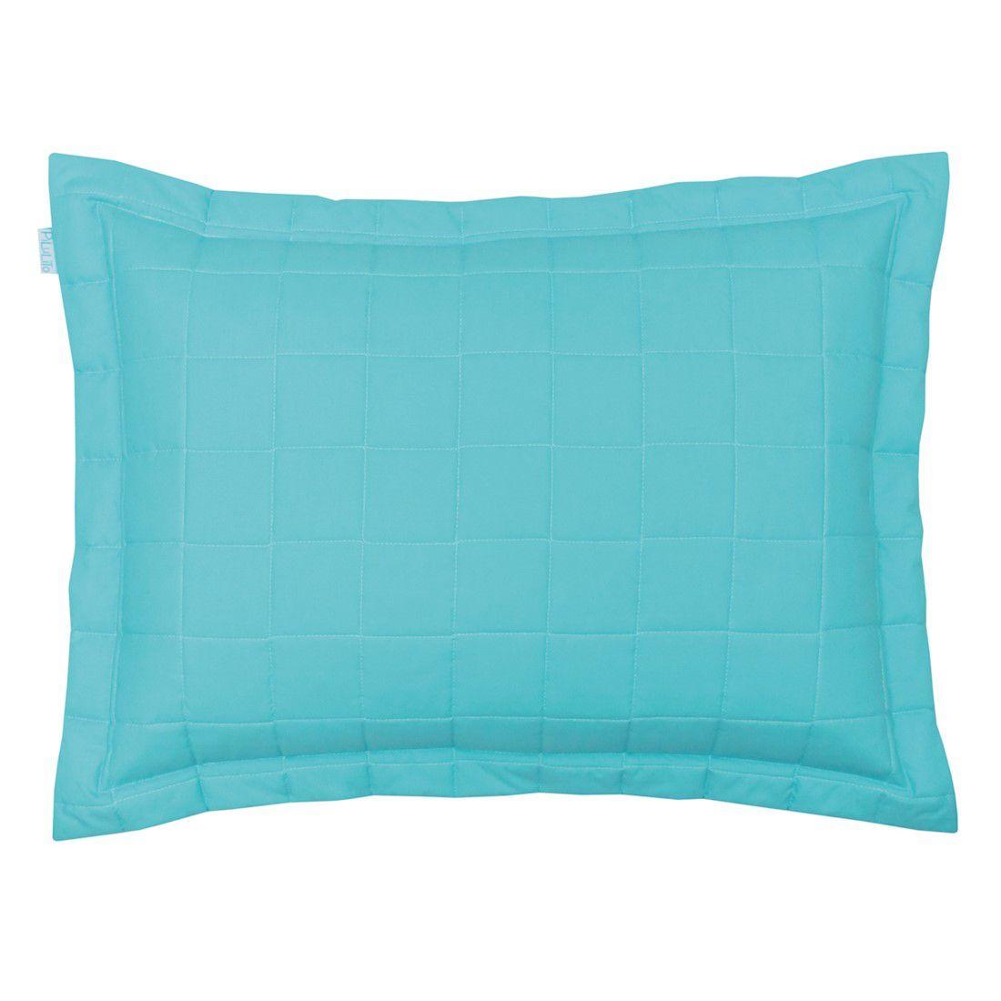 Porta travesseiro percal 200 fios cubos turquesa