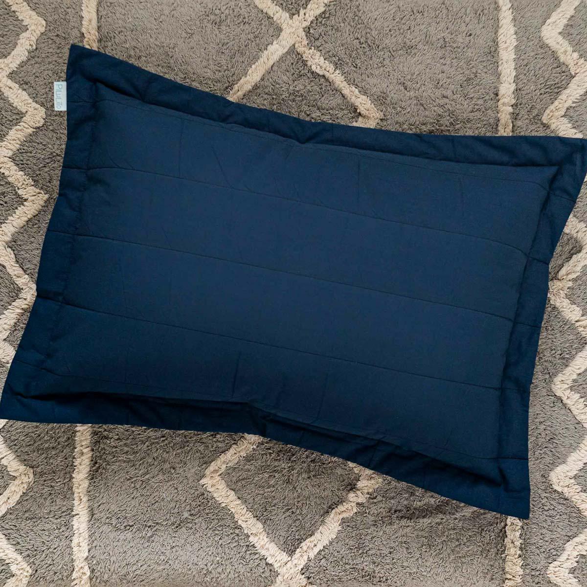 Porta Travesseiro Percal 200 Fios Listras Azul Marinho