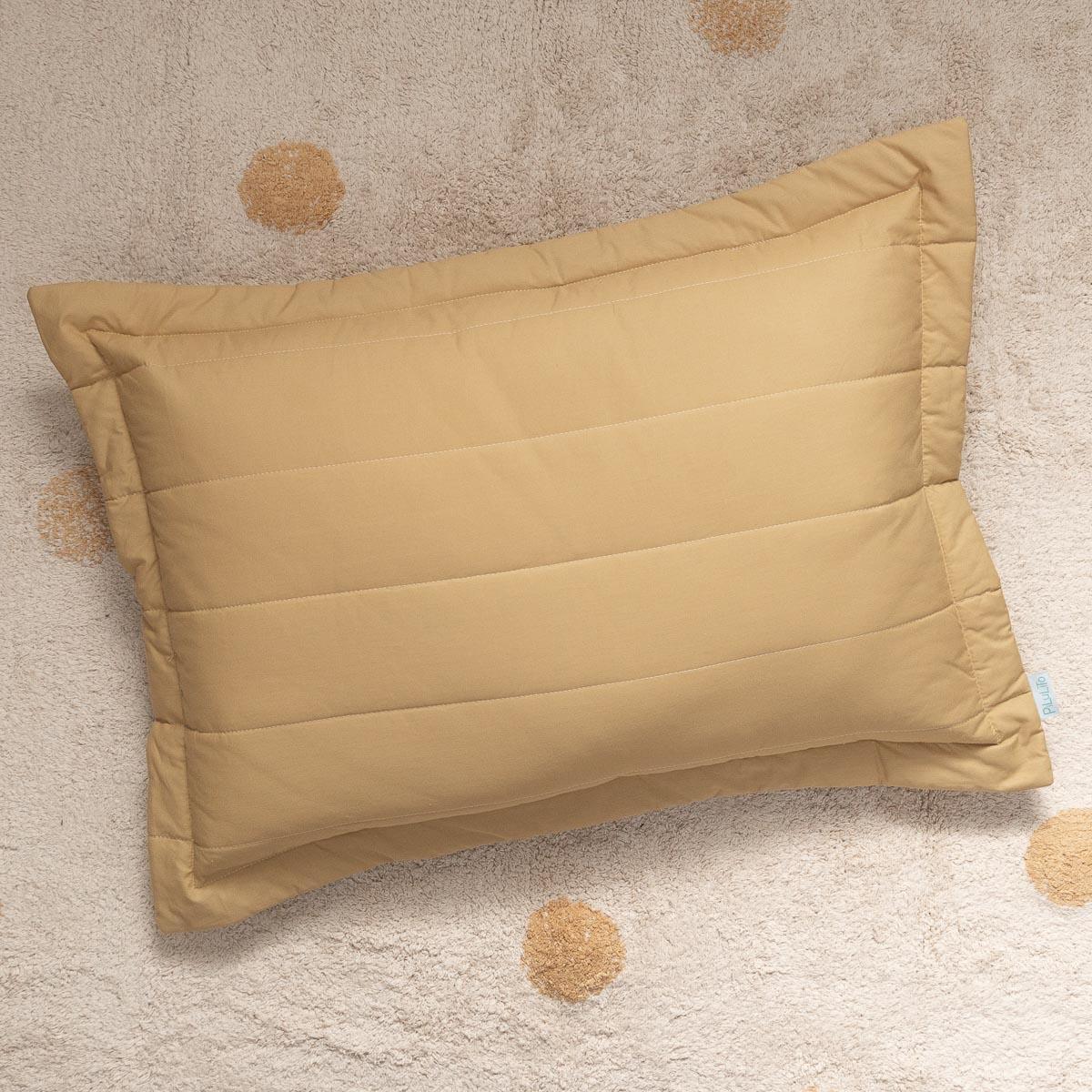 Porta Travesseiro Percal 200 Fios Listras Cáqui