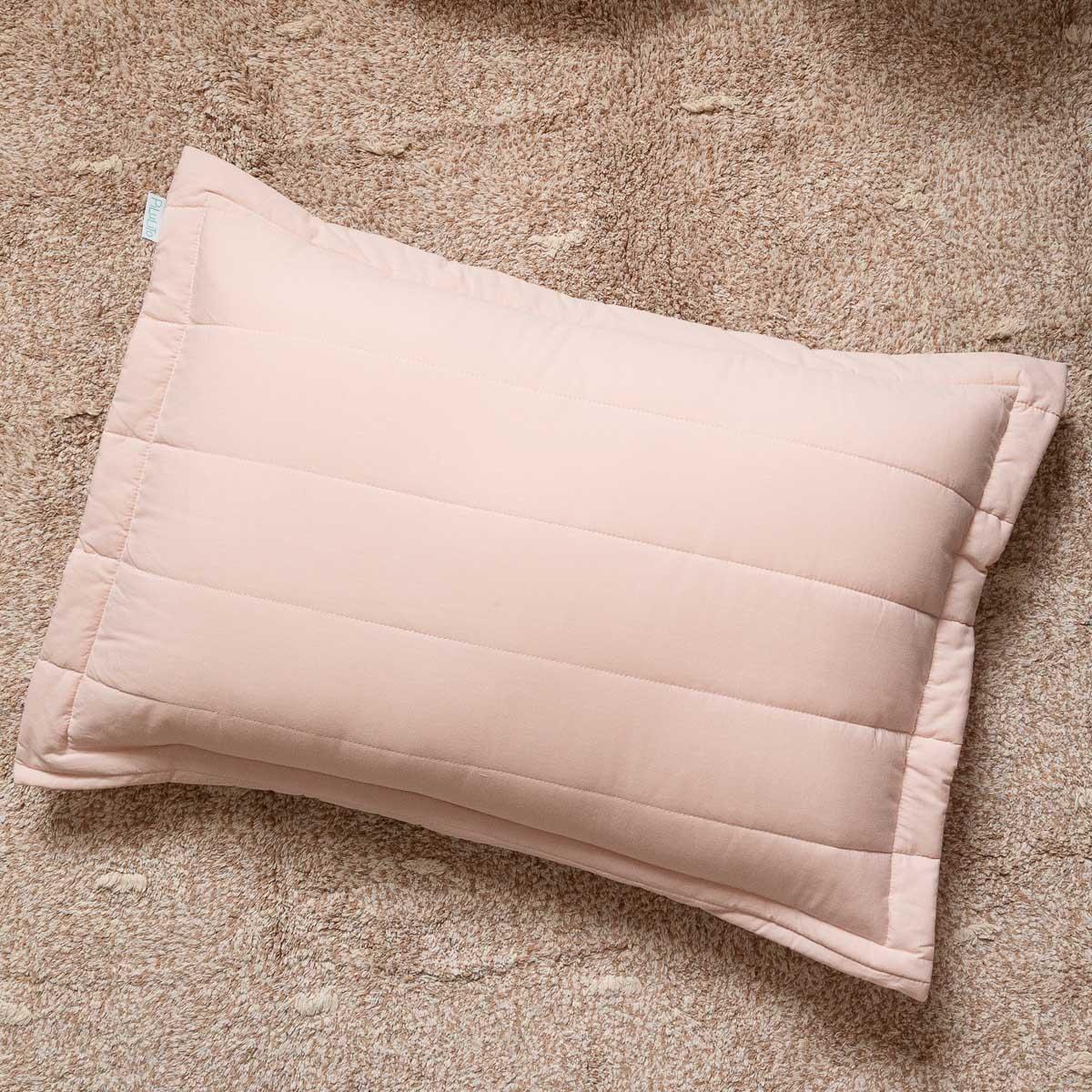 Porta Travesseiro Percal 200 Fios Listras Rosa Nude