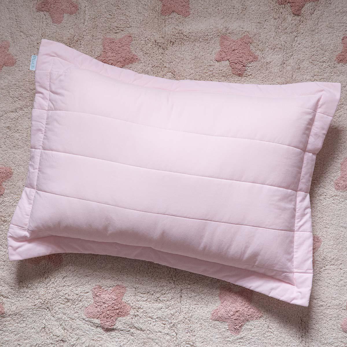 Porta Travesseiro Percal 200 Fios Listras Rosa Suave