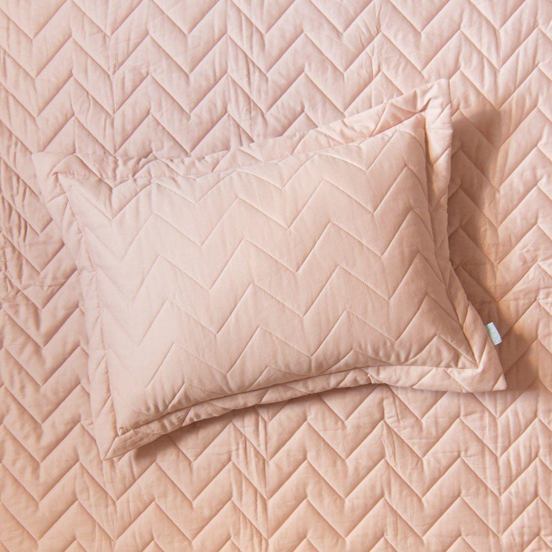 Porta Travesseiro Percal 200 Fios Chevron Rosa Nude