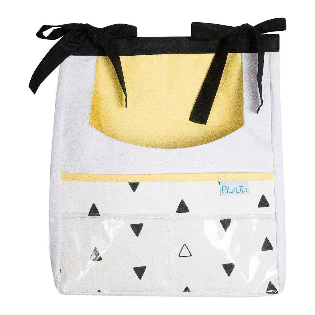 Porta-trecos triângulos PB com amarelo claro