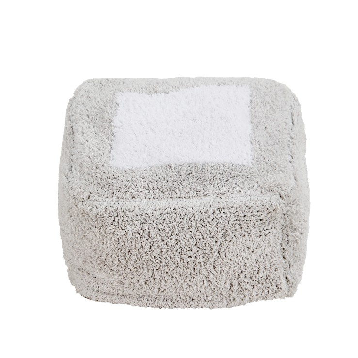 Puff Lorena Canals Marshmallow cinza perolado 30 x 39 x 18 cm