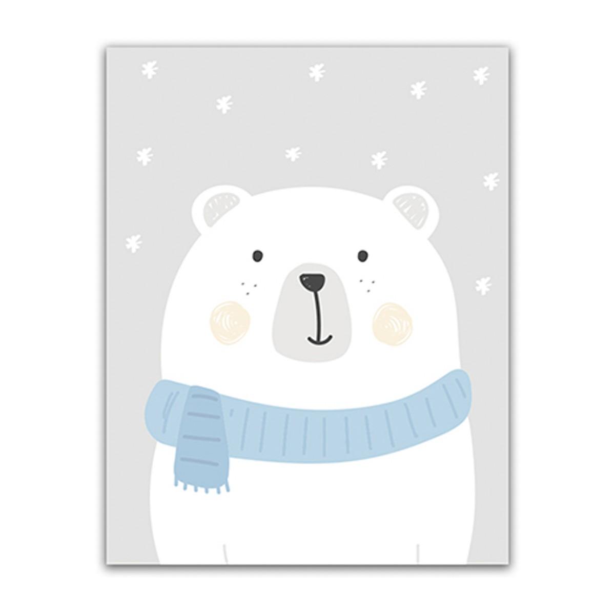 Quadro Urso de Cachecol 45 x 35 cm