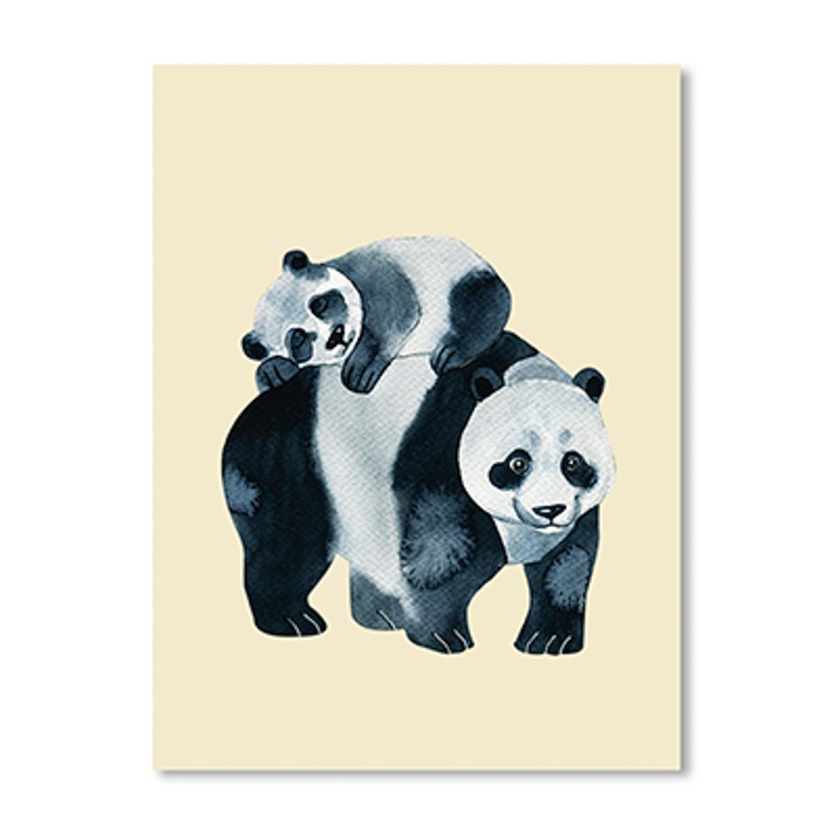 Quadro Urso Panda e Filhote Creme 30 x 40 cm
