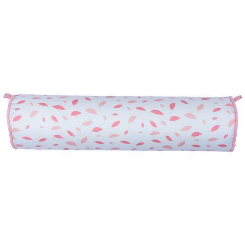 Rolinho peseira para berço 46 cm chão de folhas rosa chá