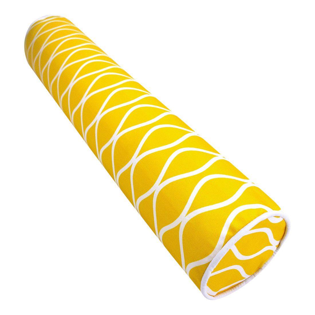 Rolinho peseira para berço 46cm ondas amarelo
