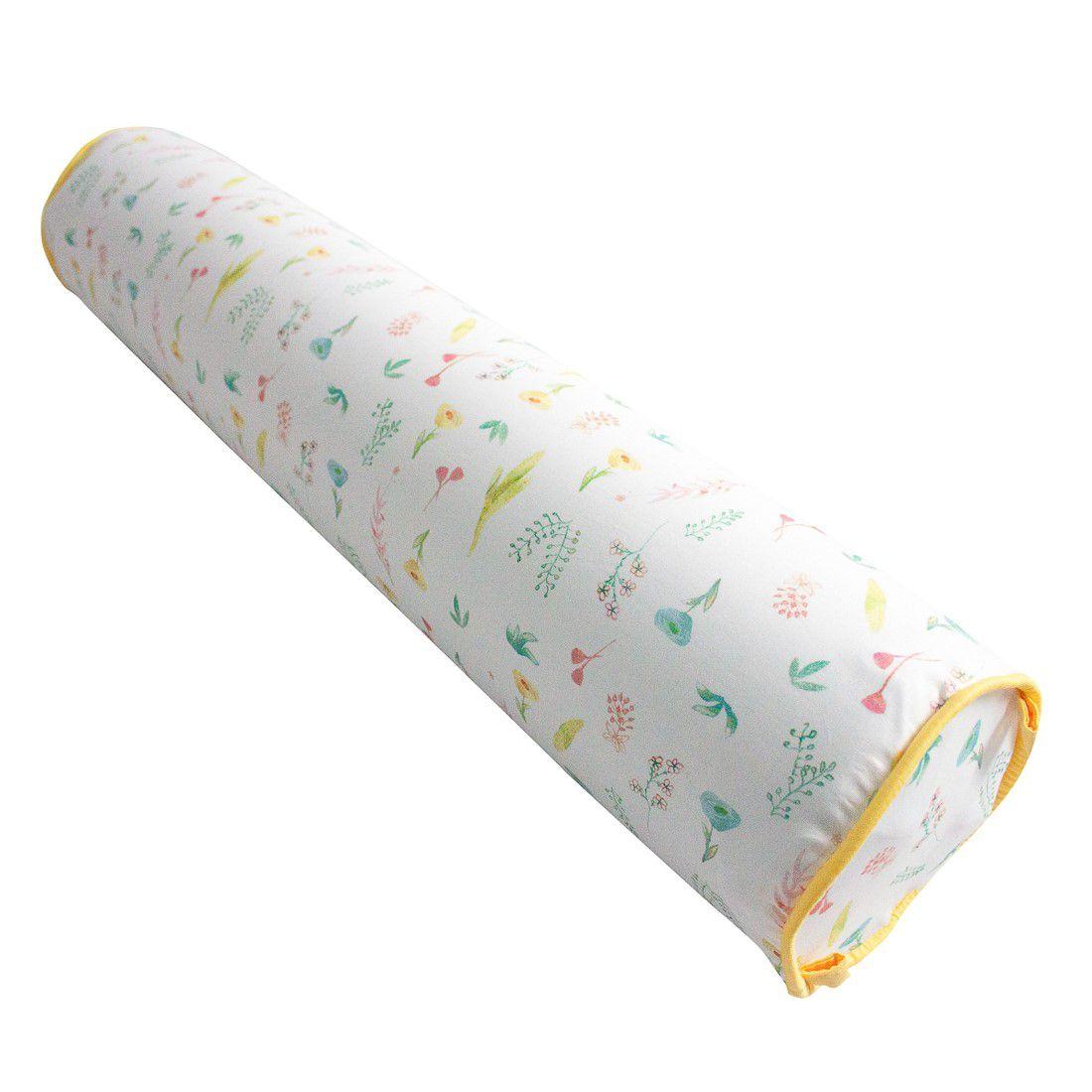Rolo para cama 90 cm floral aquarela