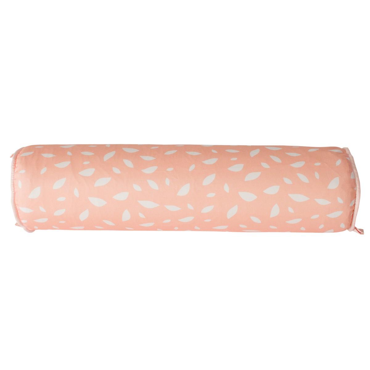 Rolo para cama 90 cm folhas salmão