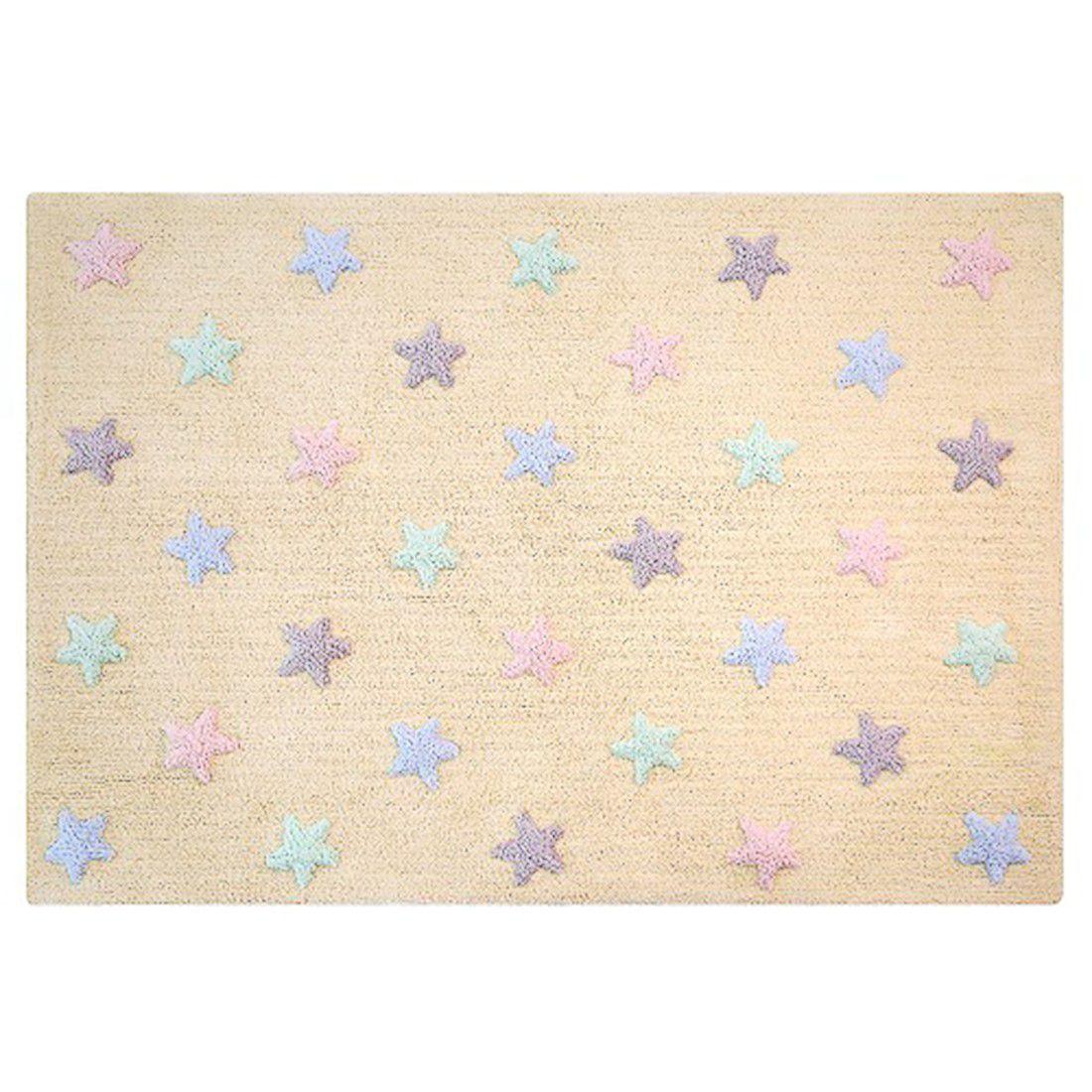 Tapete Lorena Canals Estrelas Tricolor Baunilha 120 x 160 cm