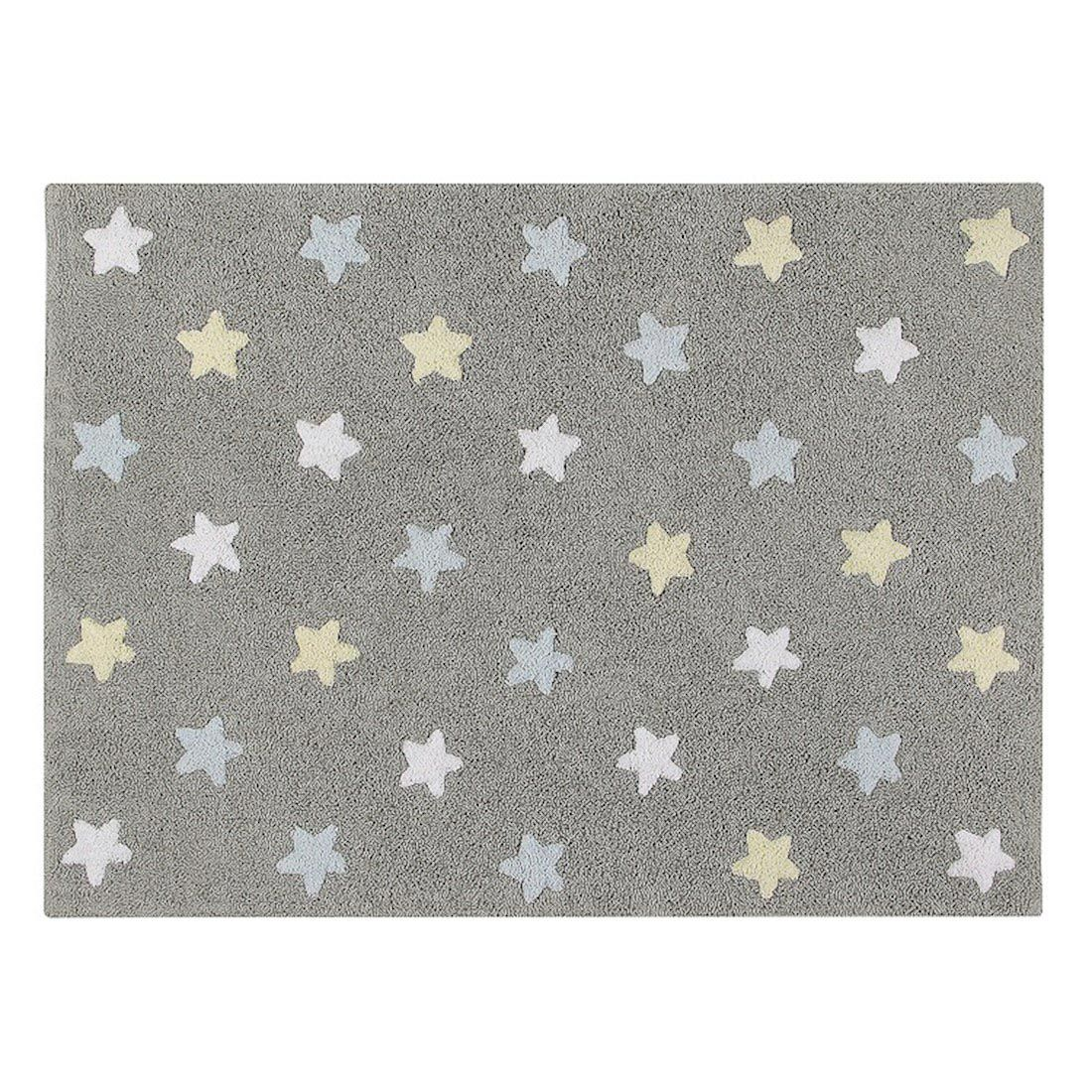 Tapete Lorena Canals Estrelas Tricolor Cinza - Azul 120 x 160 cm