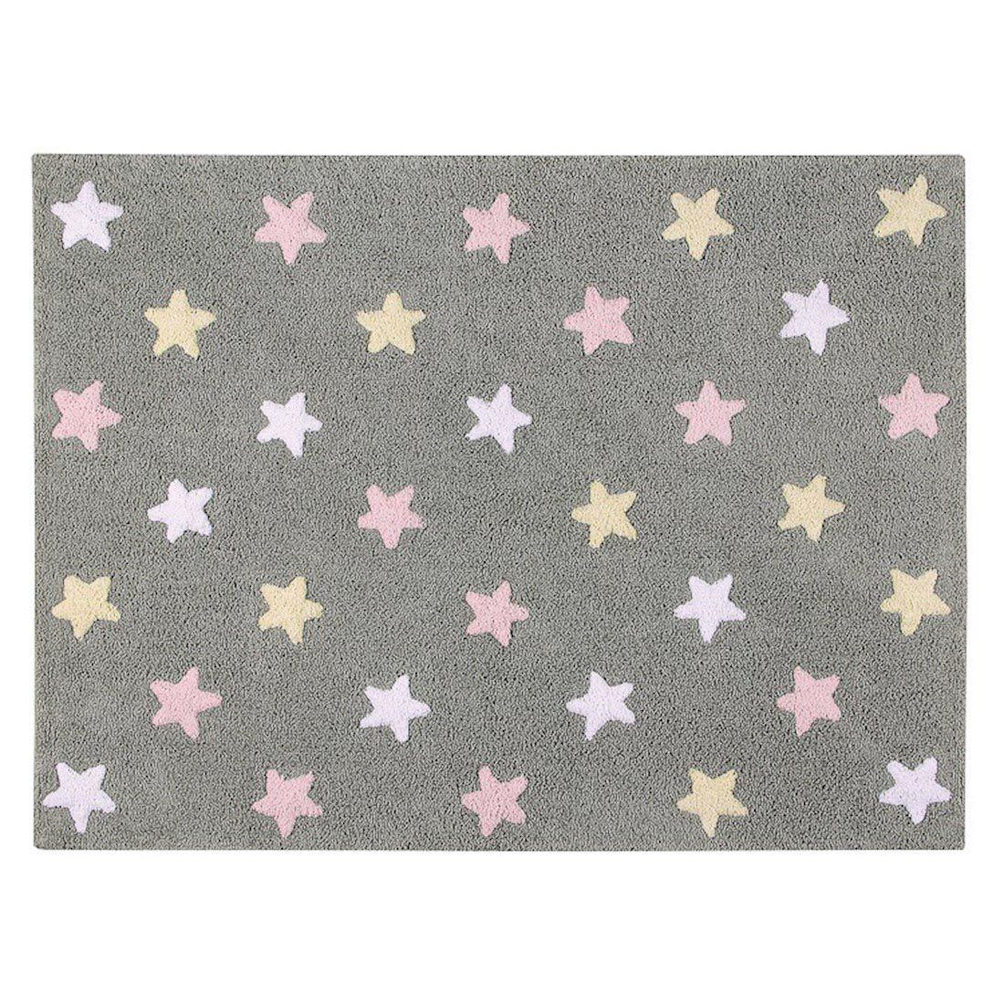 Tapete Lorena Canals Estrelas Tricolor Cinza- Rosa 120 x 160 cm