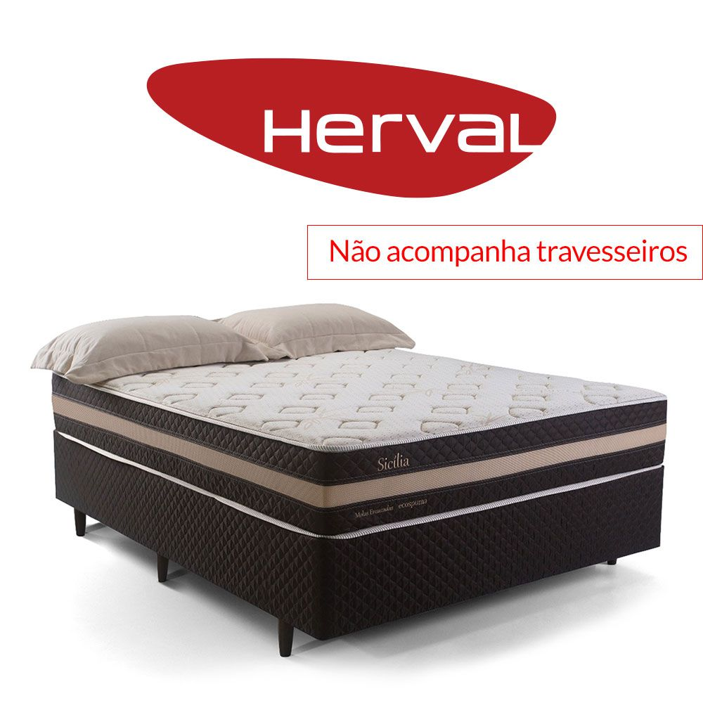 Cama Box Casal Herval Sicília One Side sem Pillow 158 x 198 x 64