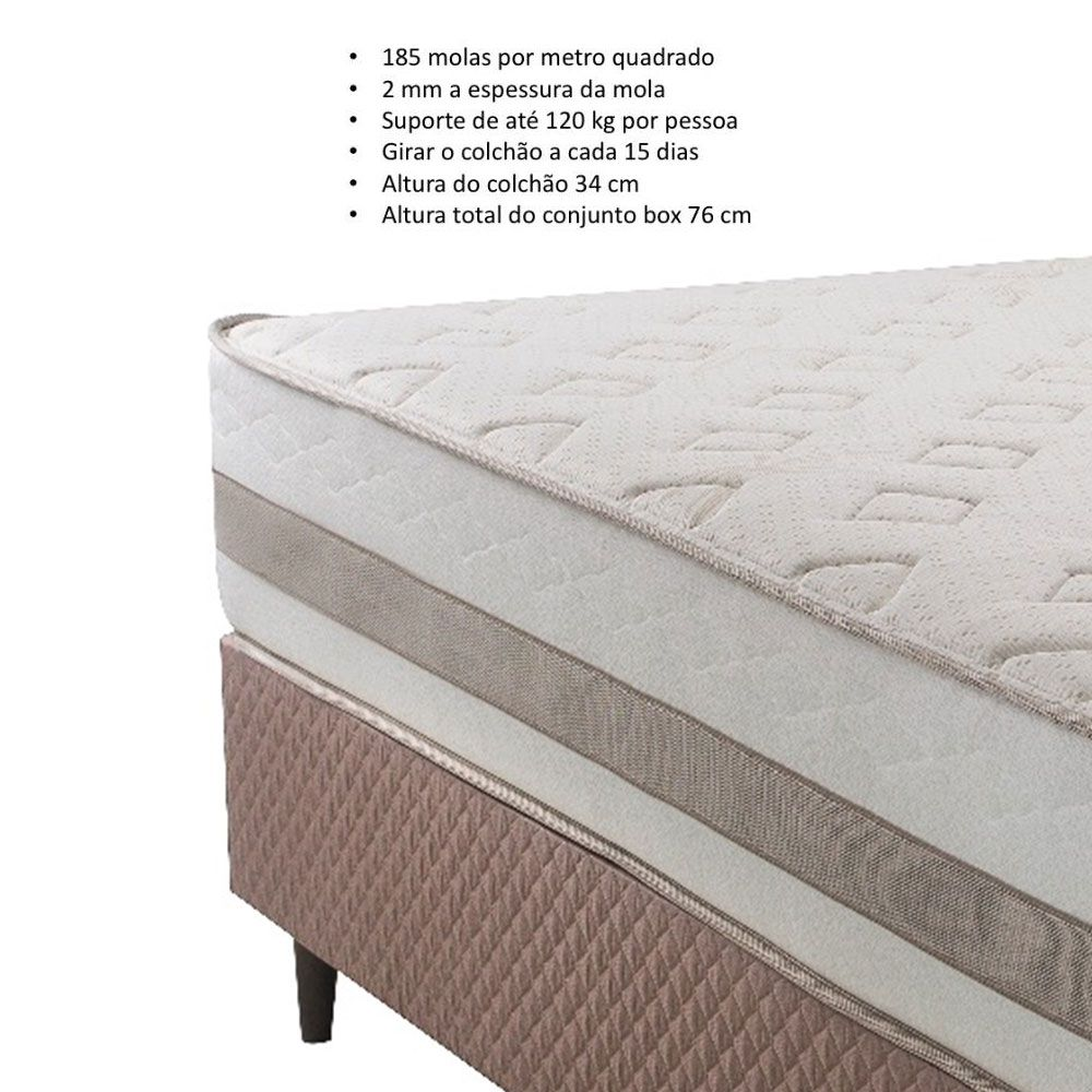 Cama Box Casal Herval Zematt One Side sem Pillow 158 x 198 x 64
