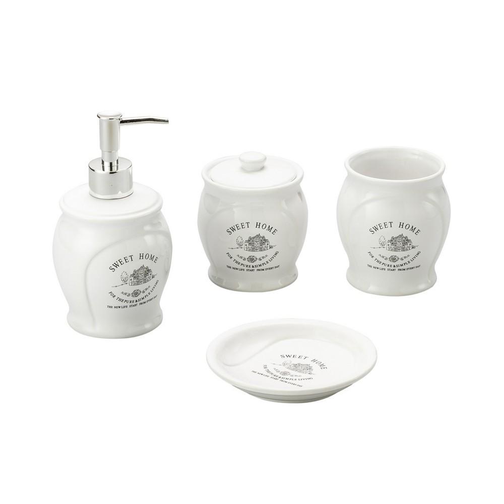 Conjunto Banheiro Cerâmica Lyor 3342 4 Peças Sweet Home Branco