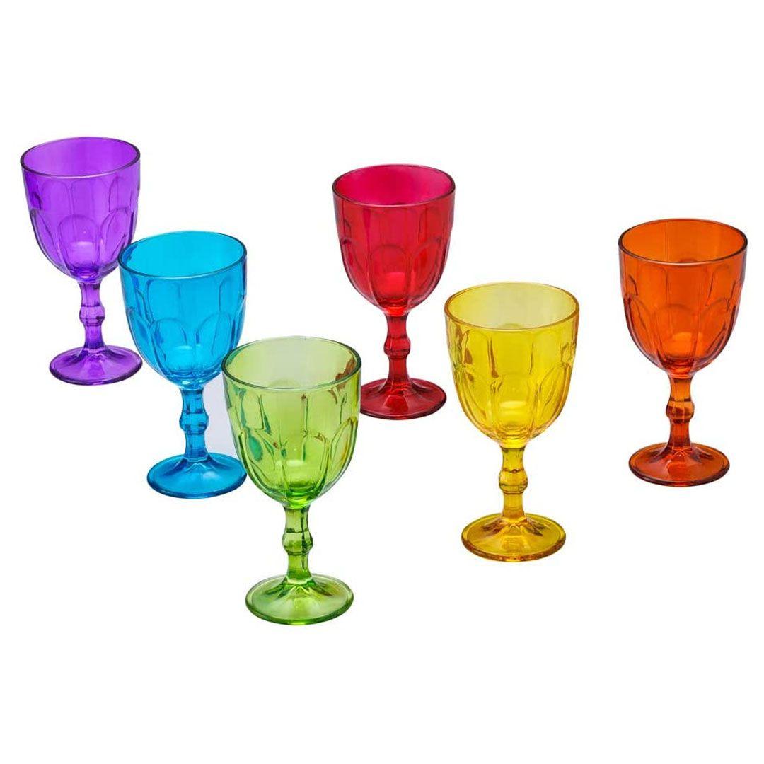 Conjunto Lyor 6 Copos 6105 Vidro Sodo Calcico Faces Colorido 300ml