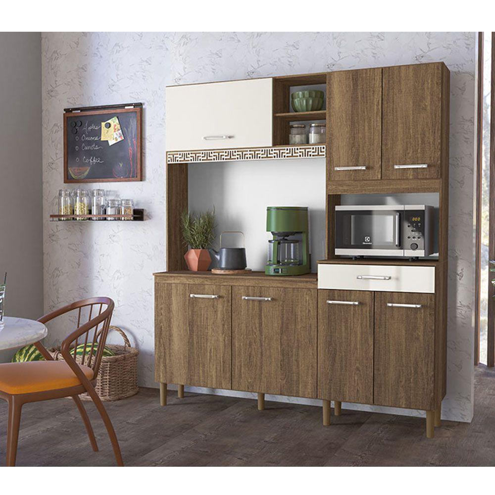 Kit Cozinha Nicioli Yara 7 Portas 160 Évora Rust Off White