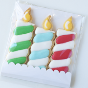 Biscoitos Decorados Velas de Aniversário - pacote com 3 unidades