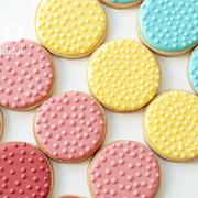 Conjunto de Biscoitos Decorados Redondos com Relevos em Bolinhas - 8 unidades