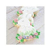 Cortador de Biscoito Coelho (Coelhinho com Flores) (Tema Páscoa)