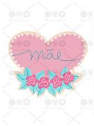 Cortador de Biscoito Coração com Flores Dia das Mães