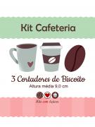 Kit de Cortadores de Biscoito Tema Cafeteria