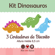 Kit de Cortadores de Biscoito Tema Dinossauro