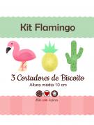 Kit de Cortadores de Biscoito Tema Flamingo