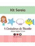 Kit de Cortadores de Biscoito Tema Sereia